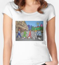 The Beatles in via Roma Cagliari PoscArt Women's Fitted Scoop T-Shirt