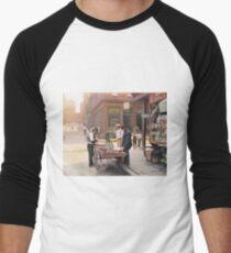 Clam seller on Mulberry Bend, New York, ca 1900 Men's Baseball ¾ T-Shirt