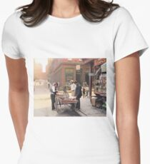 Clam seller on Mulberry Bend, New York, ca 1900 Fitted T-Shirt