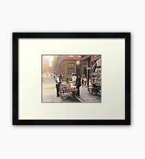 Clam seller on Mulberry Bend, New York, ca 1900 Framed Print