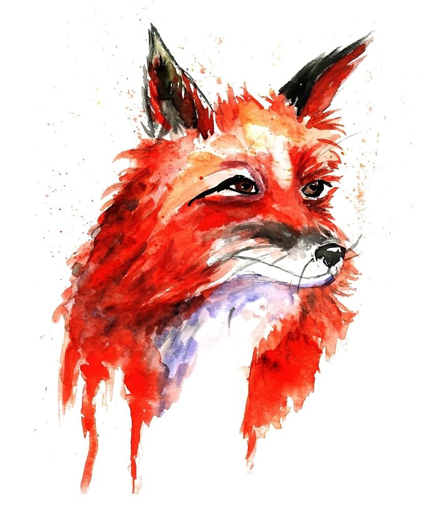 Watercolor Fox Portrait  by cherishakayart