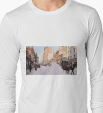Piles of snow on Broadway, after storm, New York, ca 1905 Colorized Long Sleeve T-Shirt