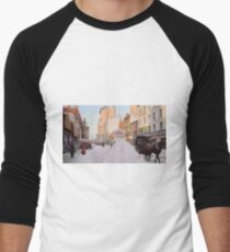 Piles of snow on Broadway, after storm, New York, ca 1905 Colorized Men's Baseball ¾ T-Shirt