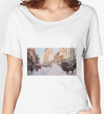 Piles of snow on Broadway, after storm, New York, ca 1905 Colorized Relaxed Fit T-Shirt
