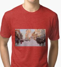 Piles of snow on Broadway, after storm, New York, ca 1905 Colorized Tri-blend T-Shirt