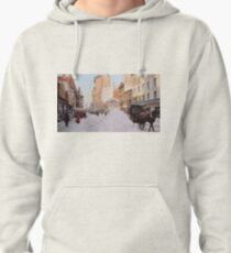 Piles of snow on Broadway, after storm, New York, ca 1905 Colorized Pullover Hoodie