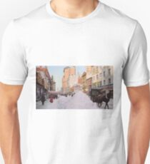 Piles of snow on Broadway, after storm, New York, ca 1905 Colorized Slim Fit T-Shirt