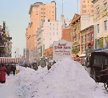 Piles of snow on Broadway, after storm, New York, ca 1905 Colorized by Sanna Dullaway