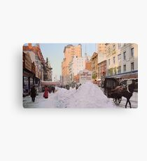 Piles of snow on Broadway, after storm, New York, ca 1905 Colorized Canvas Print