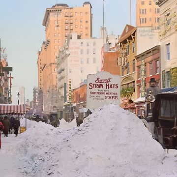 Piles of snow on Broadway, after storm, New York, ca 1905 Colorized by SannaDullaway