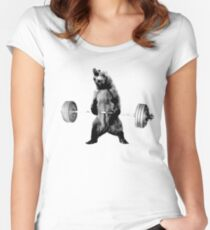 Grizzly Bear Deadlifting Women's Fitted Scoop T-Shirt