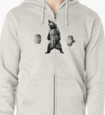 Grizzly Bear Deadlifting Zipped Hoodie