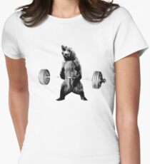 Grizzly Bear Deadlifting Women's Fitted T-Shirt