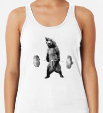 Grizzly Bear Deadlifting Racerback Tank Top