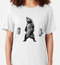 Grizzly Bear Deadlifting Slim Fit T-Shirt