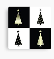 Black and white christmas trees. Geometric christmas trees in 2 colors Canvas Print