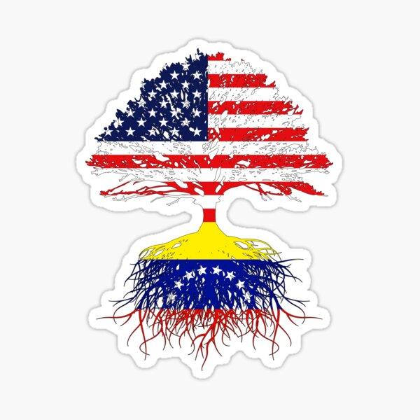 Venezuelan Roots Gift American Grown From Venezuela USA American Flags Design Art Men Women Sticker