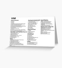 Vim Cheat Sheet Greeting Card