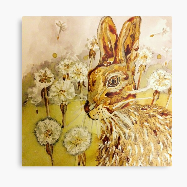 Hare among dandelions Metal Print
