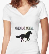 Unicorns are Real Rainbow Version Women's Fitted V-Neck T-Shirt