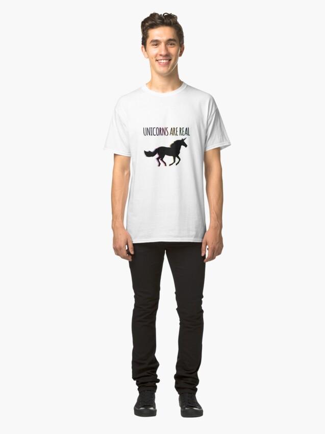 Alternate view of Unicorns are Real Rainbow Version Classic T-Shirt
