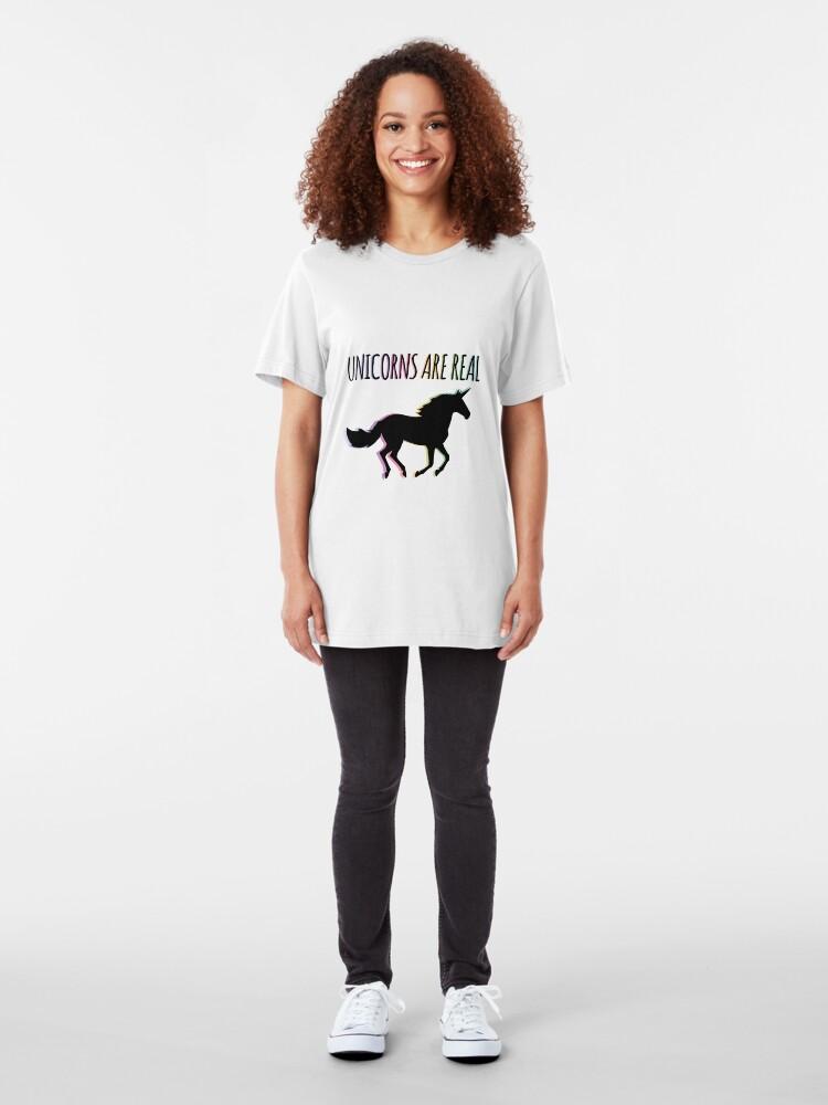 Alternate view of Unicorns are Real Rainbow Version Slim Fit T-Shirt