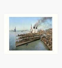 Sidewheeler Tashmoo leaving wharf in Detroit, ca 1901 Colorized Art Print