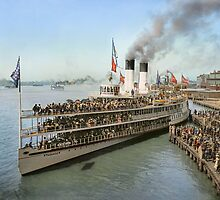 Sidewheeler Tashmoo leaving wharf in Detroit, ca 1901 Colorized by Sanna Dullaway