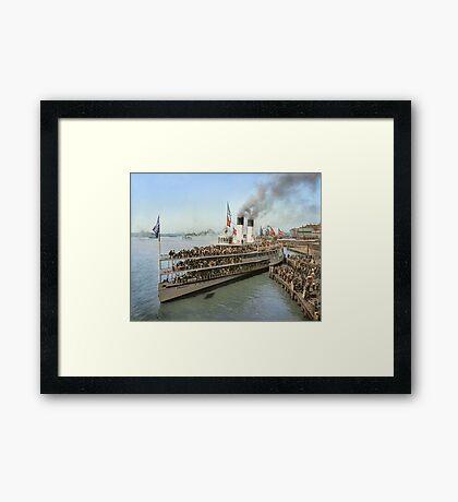Sidewheeler Tashmoo leaving wharf in Detroit, ca 1901 Colorized Framed Print