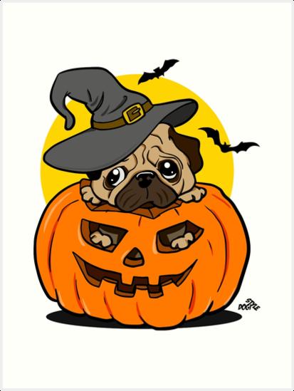 Funny Halloween cartoon pug