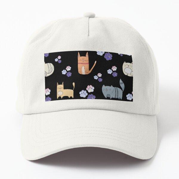 Cat Pattern_Black Dad Hat