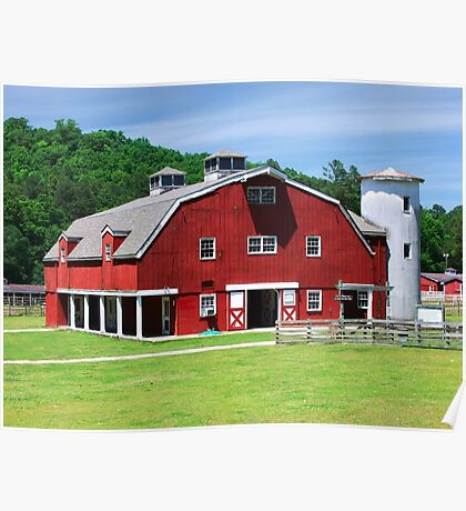 Red Barn in the Hills Poster