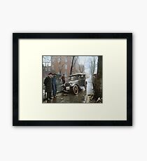 Auto Wreck in Washington DC, 1921. Colorized Framed Print