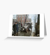 Auto Wreck in Washington DC, 1921. Colorized Greeting Card