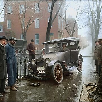 Auto Wreck in Washington DC, 1921. Colorized by SannaDullaway