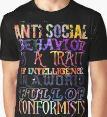 Watercolor-Anti Social Behavior, Nikola Tesla Quote Graphic T-Shirt