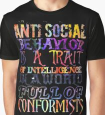 Watercolor-Anti Social Behavior, Nikola Tesla Quote Graphic T-Shirt