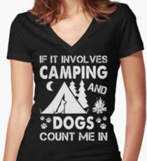 I Love Camping And Dogs Women's Fitted V-Neck T-Shirt