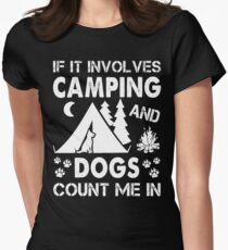 I Love Camping And Dogs Womens Fitted T-Shirt