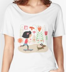 Girl on skateboard with her dog Women's Relaxed Fit T-Shirt