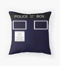 Time-traveling Police Call Box Throw Pillow