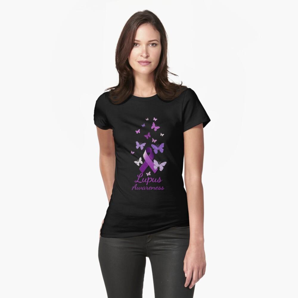 Purple Awareness Ribbon: Lupus Fitted T-Shirt