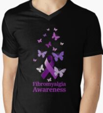 Lila Awareness Ribbon: Fibromyalgie T-Shirt mit V-Ausschnitt für Männer
