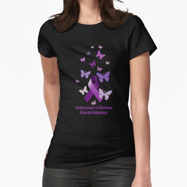Purple Awareness Ribbon: Alzheimer's Disease Fitted T-Shirt