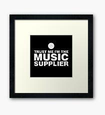 Vinyl music supplier (white) Framed Print