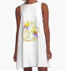 Loving birds - Regenbogen-Vögel A-Linien Kleid