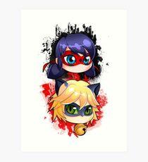 Ladybug and Chat noir vertical Art Print