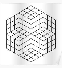 Vasarely cubes Poster