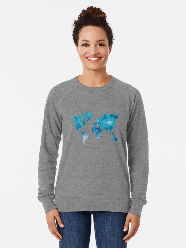 Alternative Ansicht von Weltkarte in Aquarell Leichtes Sweatshirt