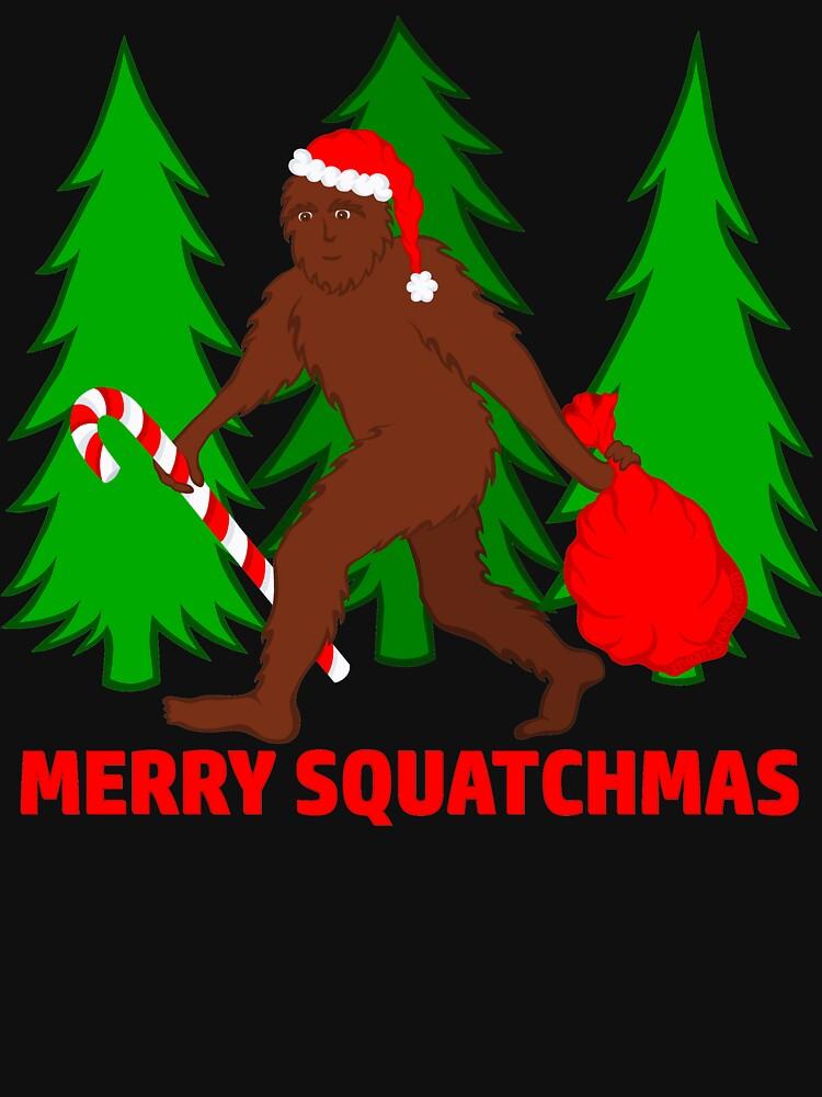 Merry Squatchmas Funny Christmas Bigfoot Santa by theartofvikki